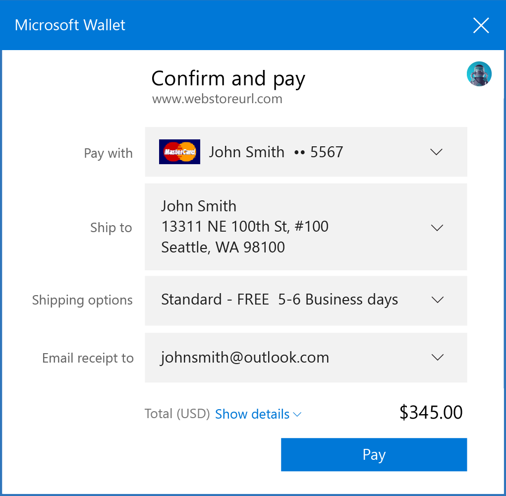 Web payments in Microsoft Edge